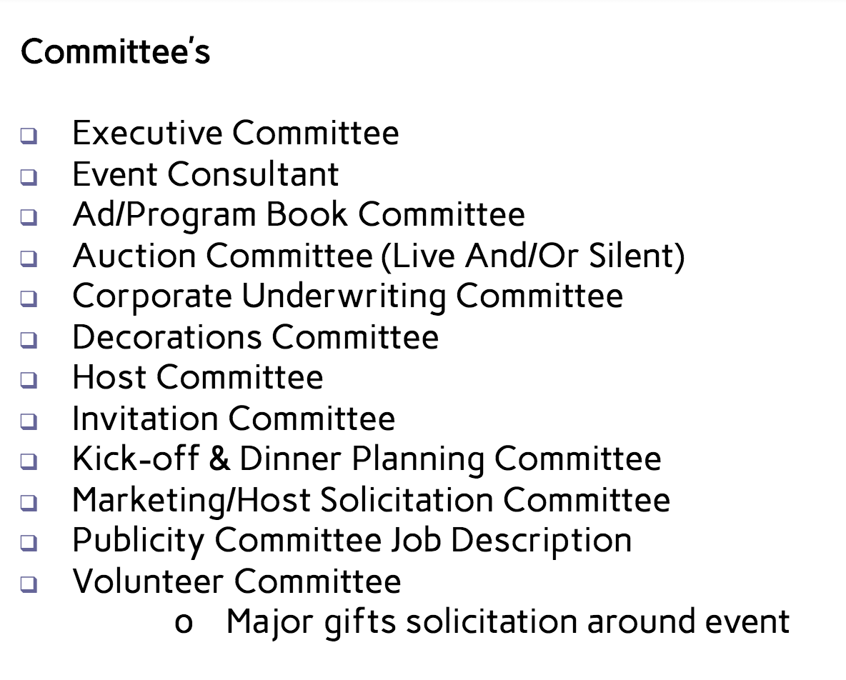 Event Committee Management - Joanne Klee Marketing and Events will develop the committee structure and manage the committee meetings. We ensure that everyone understands their committee member role, and the goals of the group. We attend the meetings, scribe the notes and report back to management, while keeping track of the details to make sure it all gets done.