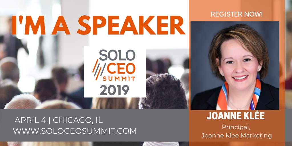 Joanne-Klee motivational marketing speaker at solo ceo summit April 4 Chicago IL