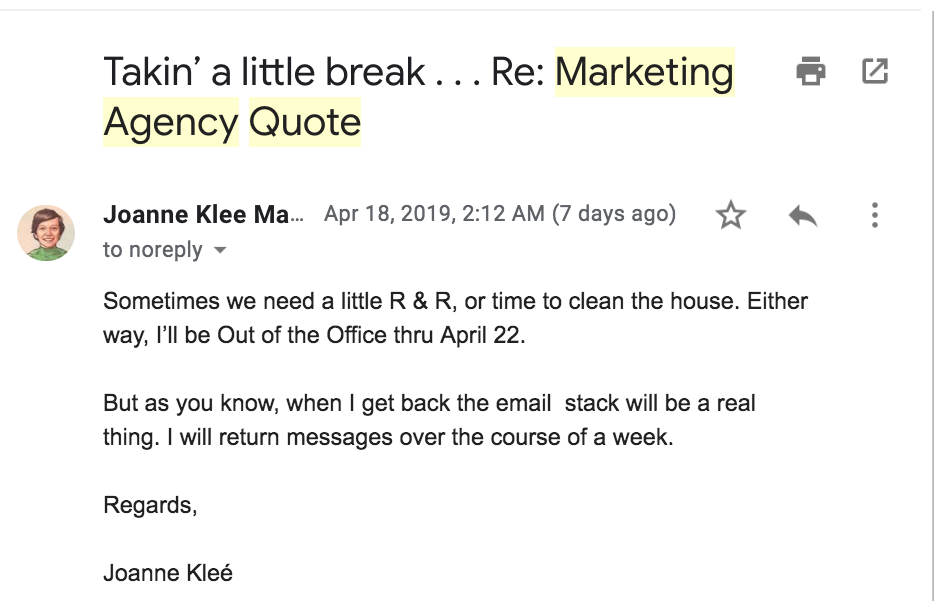 out of the office email responder that is not boring joanne klee marketing