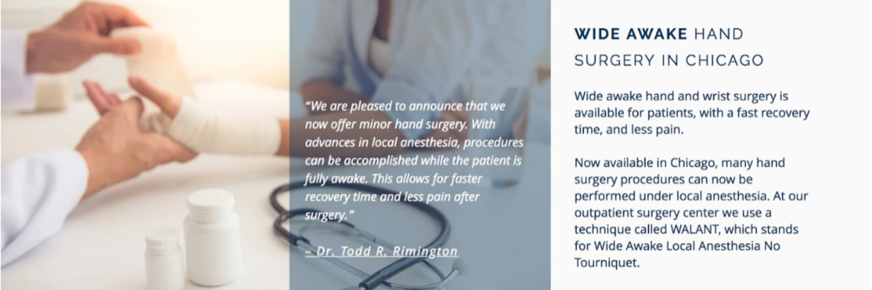 Chicago Wide Awake Hand Surgery Package SEO Press Release - Let's put you in the news! With our Package SEO Press Release we helped get more patients for a new procedure at the Ambulatory Surgery Center. Wide awake hand surgery was a new option in 2017, and patients wanted to know more. We helped get fresh SEO content online and earn credible backlinks with our SEO Press Release. What's more, we developed a new web page and f.a.q. section for patients who clicked through to the website. Don't worry, we know how to get your business online with or without a website.