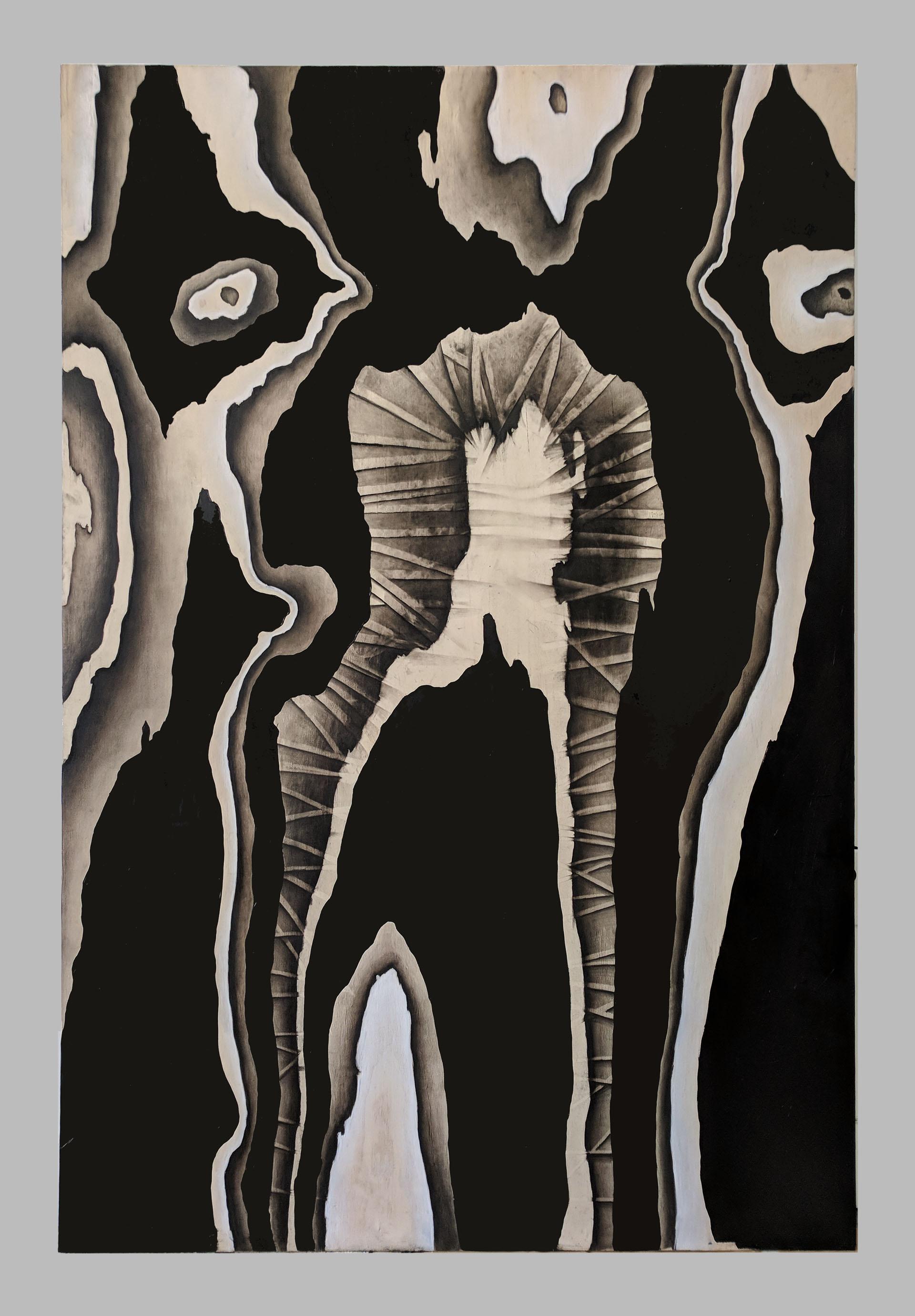 "Loki   48"" x 72"" oil, charcoal and chalk on birch panel"