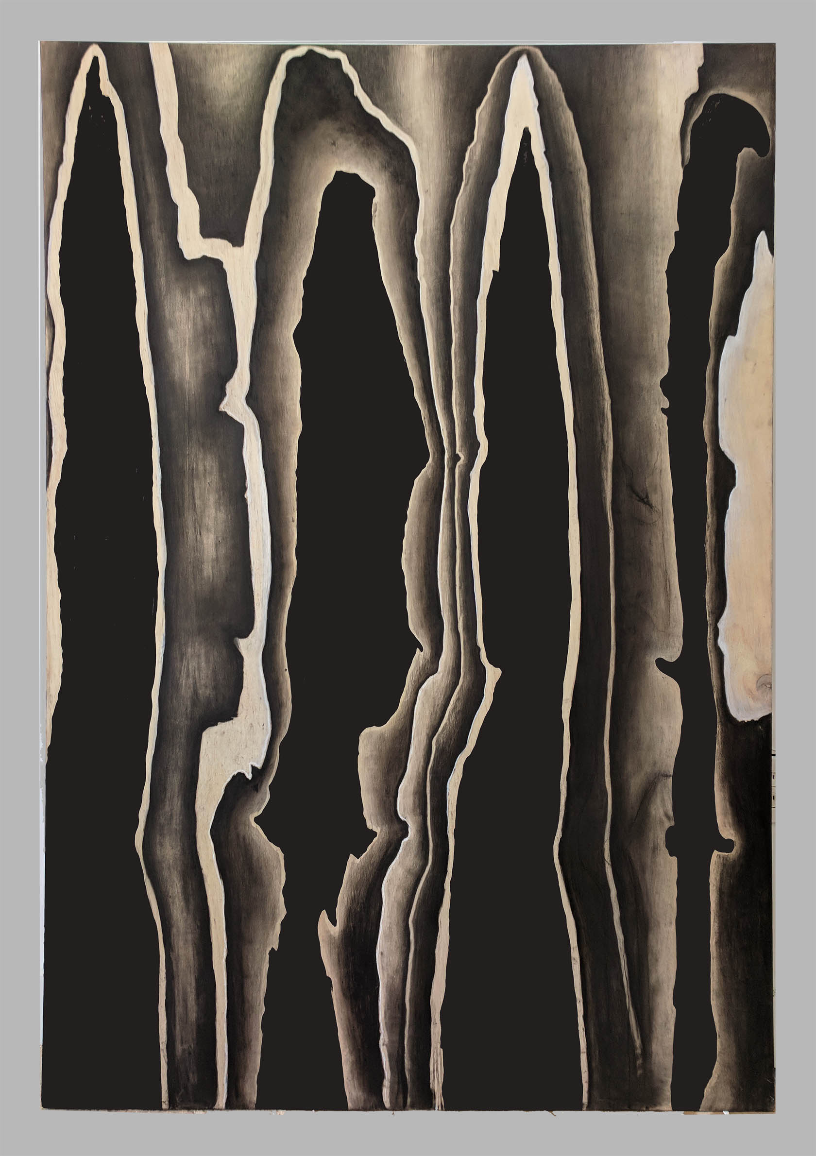 """Aesir   48"""" x 72"""" oil, charcoal and chalk on birch panel"""