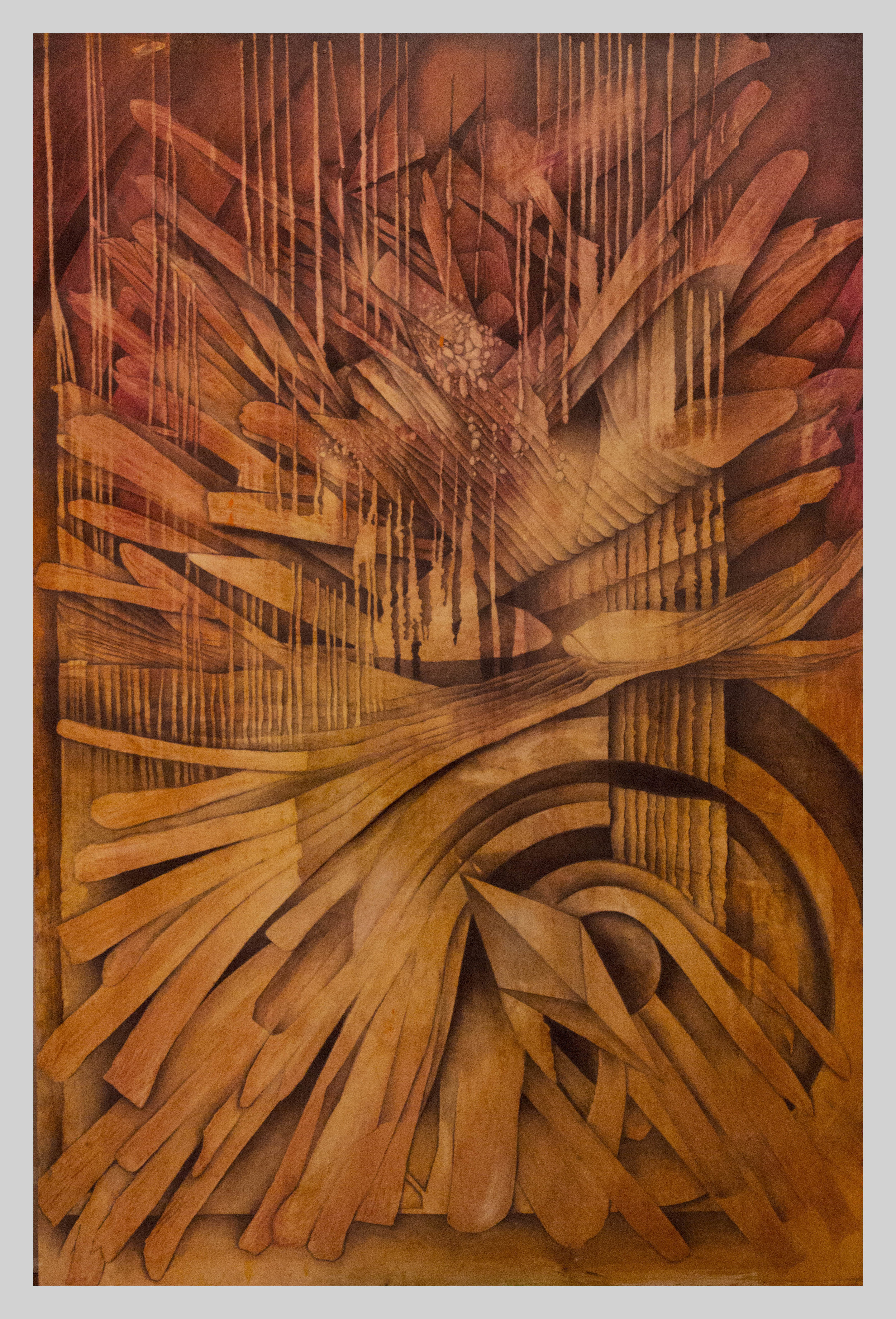 """Time Flies  48"""" x 72"""" oil and charcoal on wood panel"""