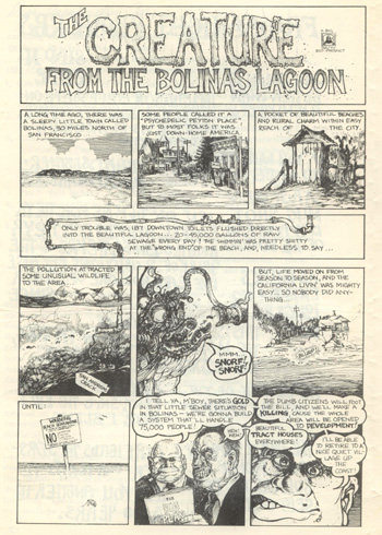 First page of The Creature from the Bolinas Lagoon by Greg Irons in  The Paper
