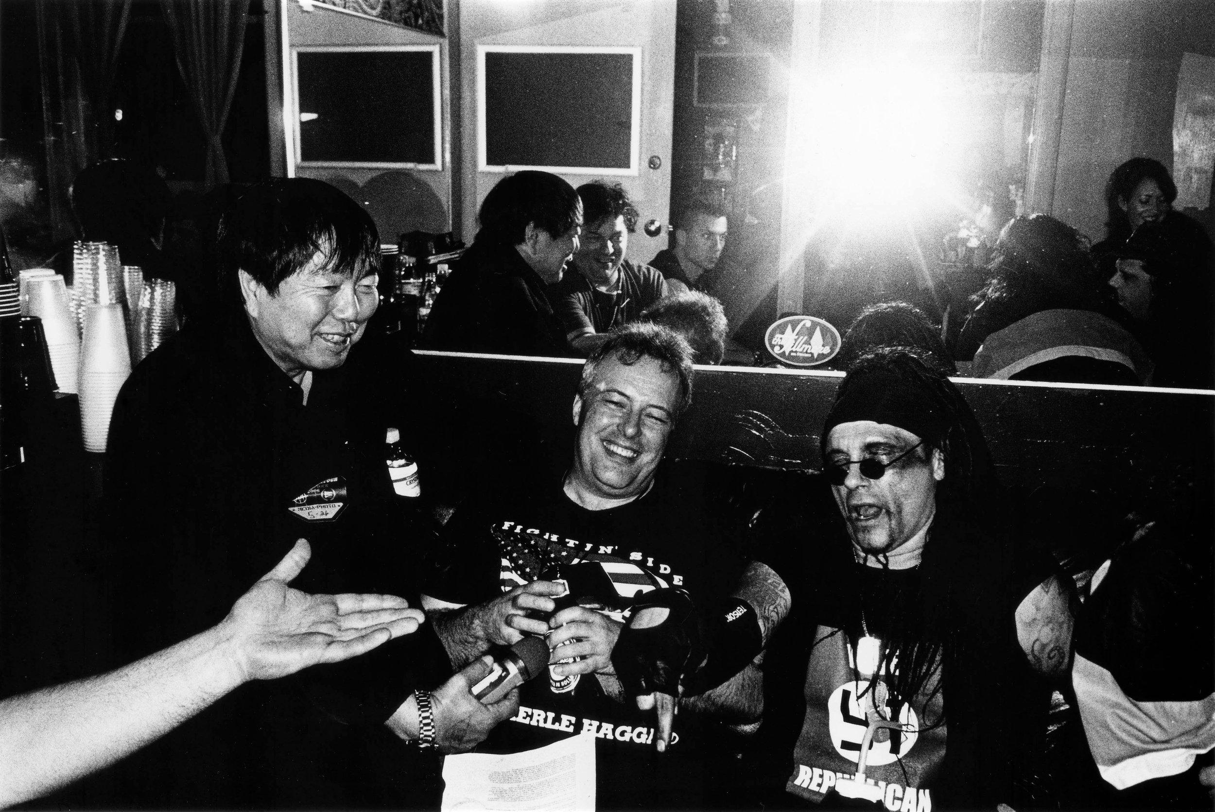 Photo of V. Vale, Jello Biafra, and Al Jorgensen by Yoshi Yubai.