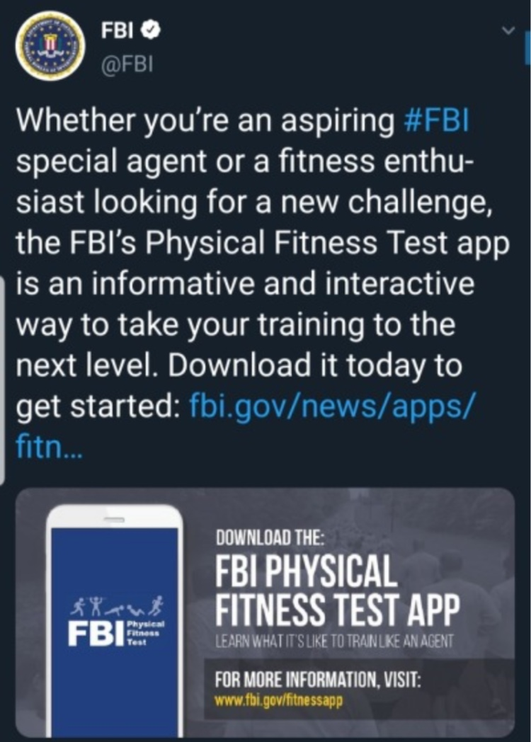 The FBI Physical Fitness Test App is now available on the Apple App Store and Google Play Store