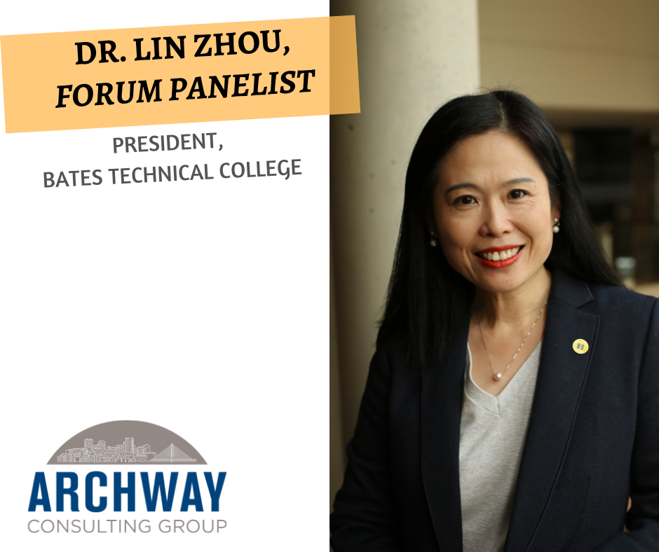 Dr. Lin Zhou  is the President of Bates Technical College of Tacoma, WA. She also serves on the Board of American Technical Education Association, Board of City Club of Tacoma, and is a member of the Washington Association of Community and Technical Colleges. Dr. Zhou holds a Ph.D. in education, with an emphasis in community college leadership, from Oregon State University, a Master's Degree in business administration from City University in Seattle, an Associate Degree in computer science and networking technology from Lake Washington Institute of Technology. In 2017, Dr. Zhou participated in Harvard University's Institute for Educational Management, administered by the university's Graduate School of Education. Dr. Zhou and her husband immigrated from Beijing, China to the United States in 1998. She is the college's first female president, and the first female, Chinese immigrant to serve as president at a public two-year college in Washington State.