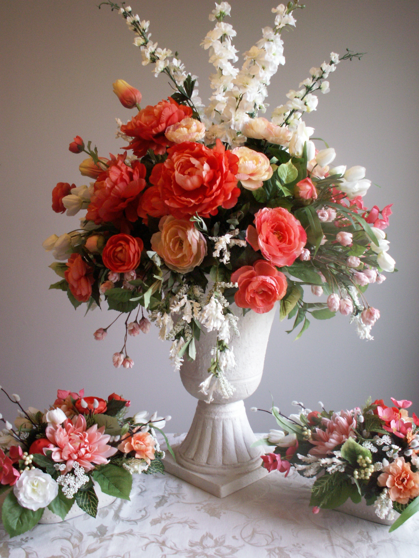 Silk Entry Arrangement with side table florals