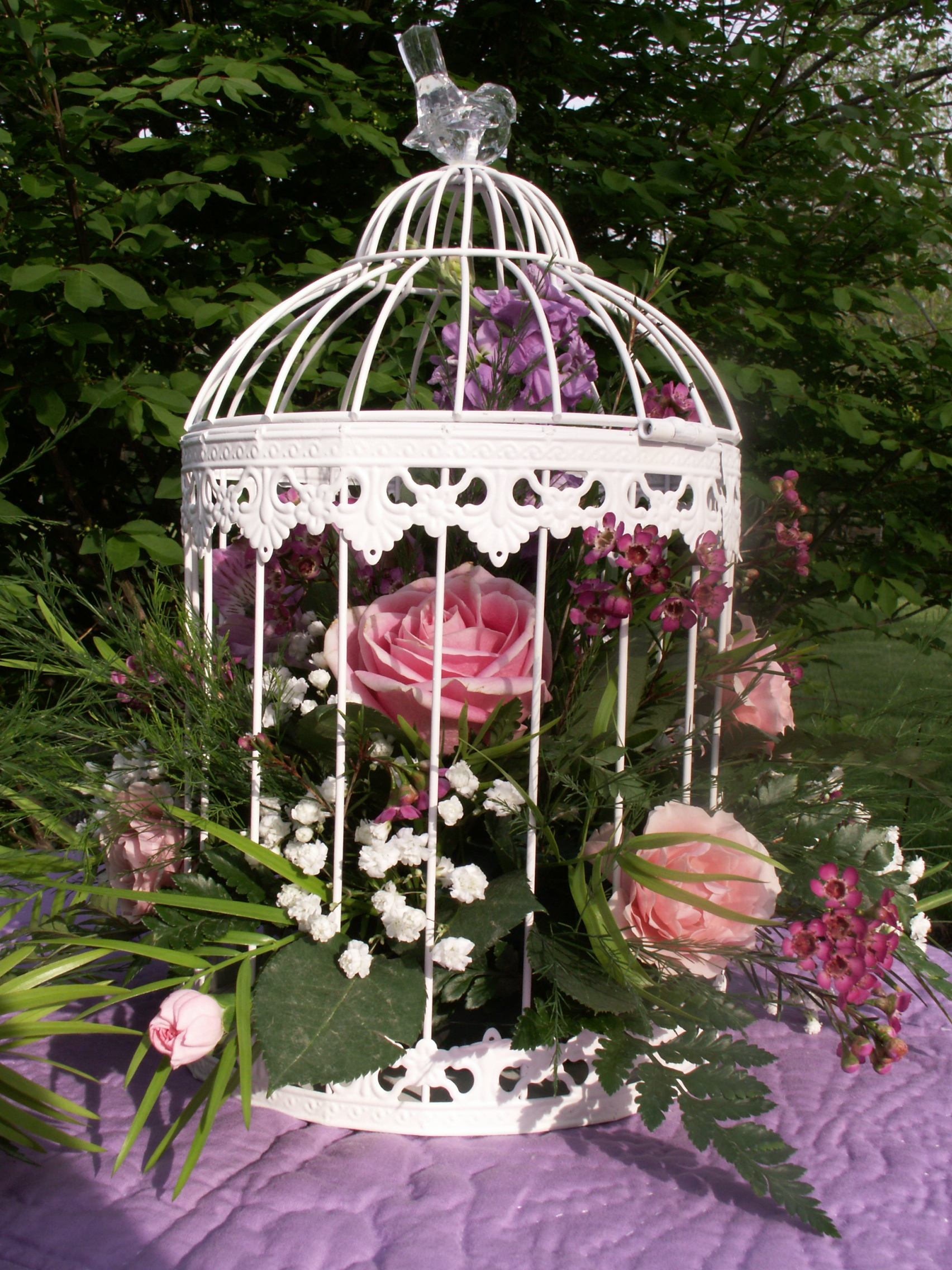 Spring birdcage centerpieces