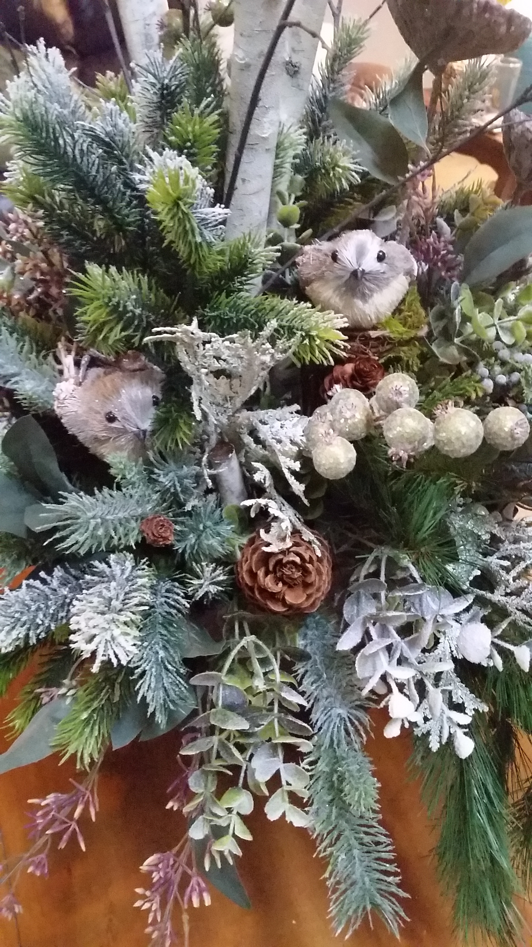 Detail in Silk Winter Entry Arrangement. Used for Holidays and Winter Months