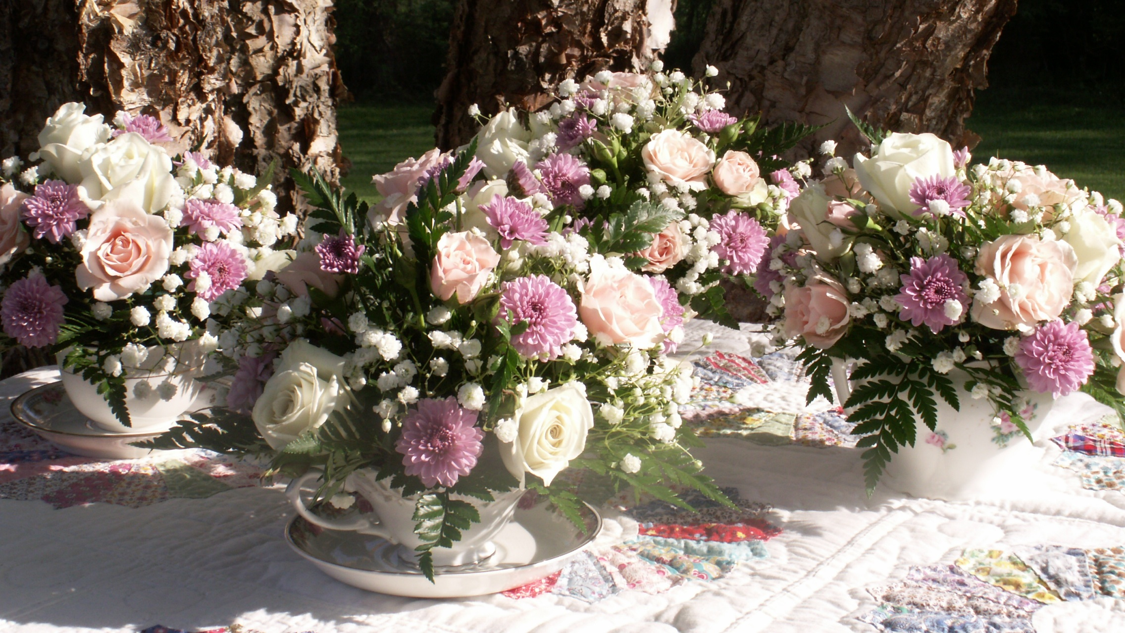 Teacup florals for small table luncheon