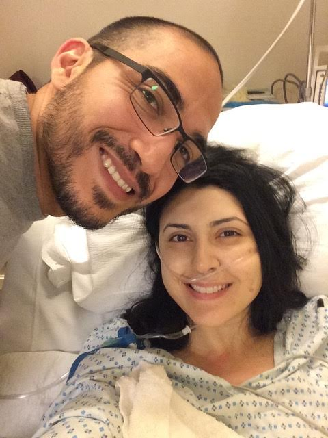 Post 2nd surgery, beyond happy to see my husband- December 2014