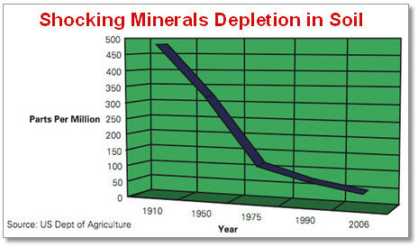 USDA graph of mineral loss in soil, and thus in vegetables