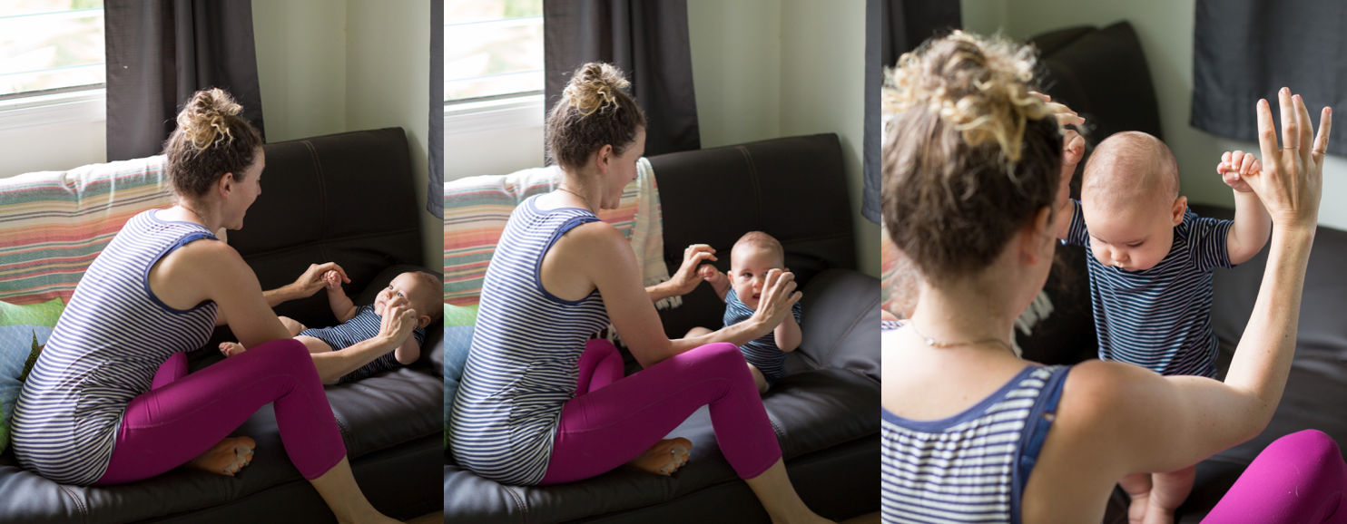 We always do activities that involve standing diaper free, but for this public blog we chose to wear clothing :)