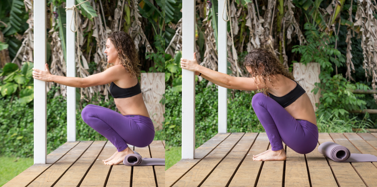 left: Good! using a rolled up yoga matt to hold a squat with my uterus being supported. right: Bad! collapsed, uterus not supported.