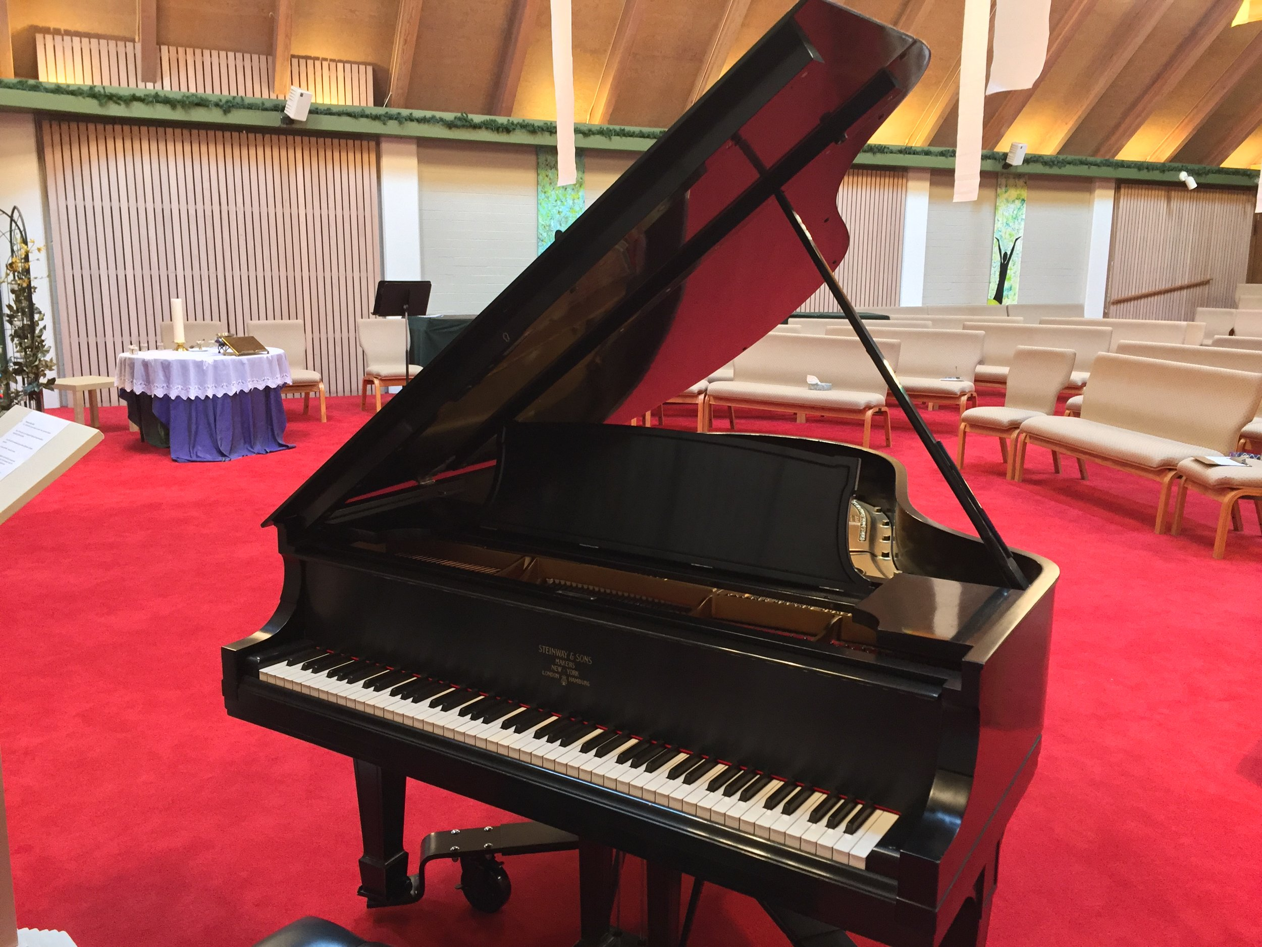 Our Pianos - Our beautiful Steinway Baby Grand piano is available to our renters for concerts & entertaining. Two upright pianos are available for our smaller rooms.