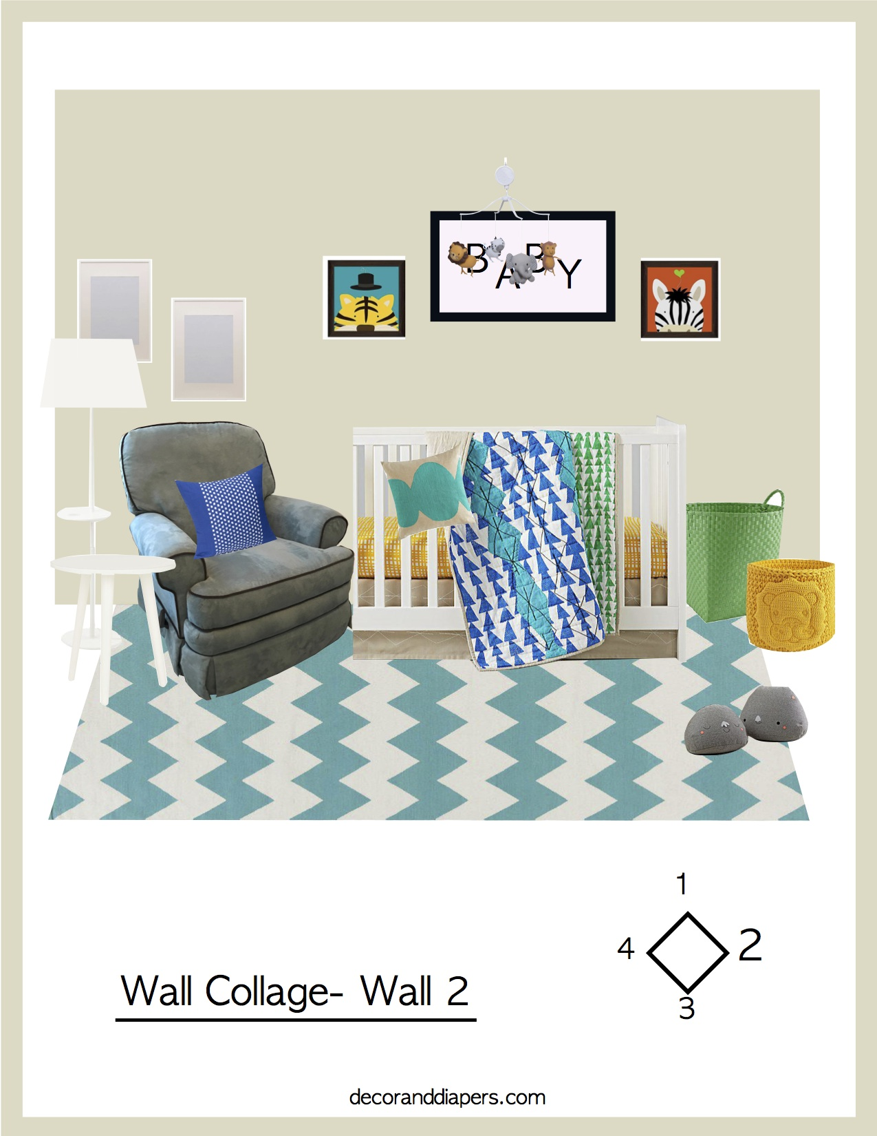 A colorful visualization of the feature wall in your nursery