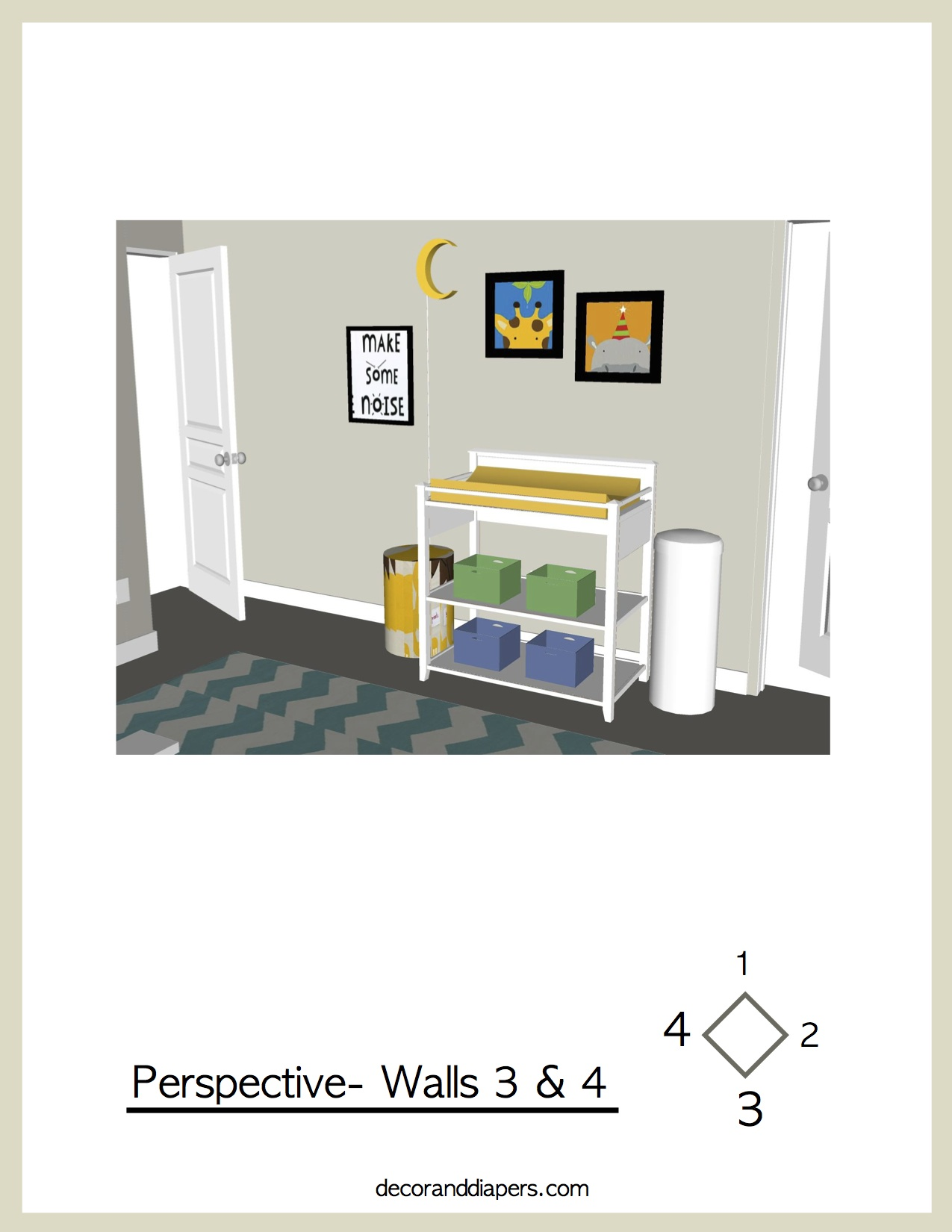 Take a full look around your new nursery! You can see a view of each corner of your room for a complete and colorful, walk-through experience.  These are also rendered in scale for a true sense of your space.