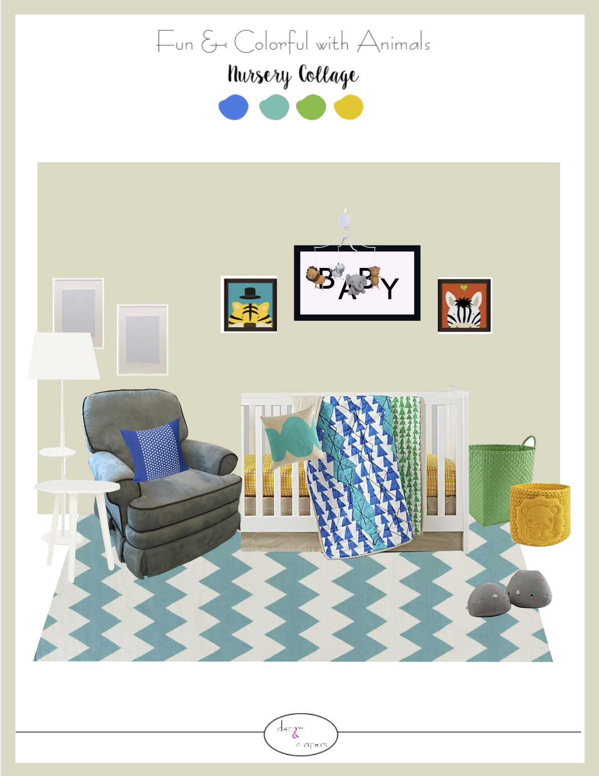 3D Wall Collage - Take a step into your new room! Here is a colorful visualization of the feature wall in your room.