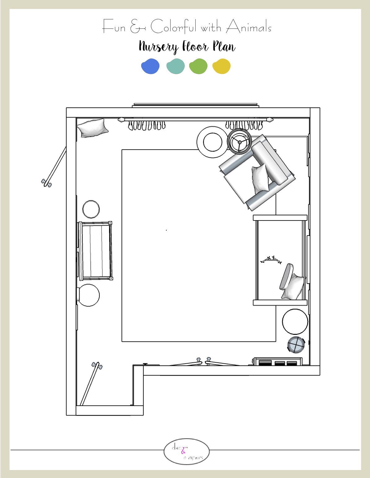 Floor Plan - A bird's eye view of your room.  Now you can see where each piece of furniture belongs in your room for a functional layout to enjoy with your family.
