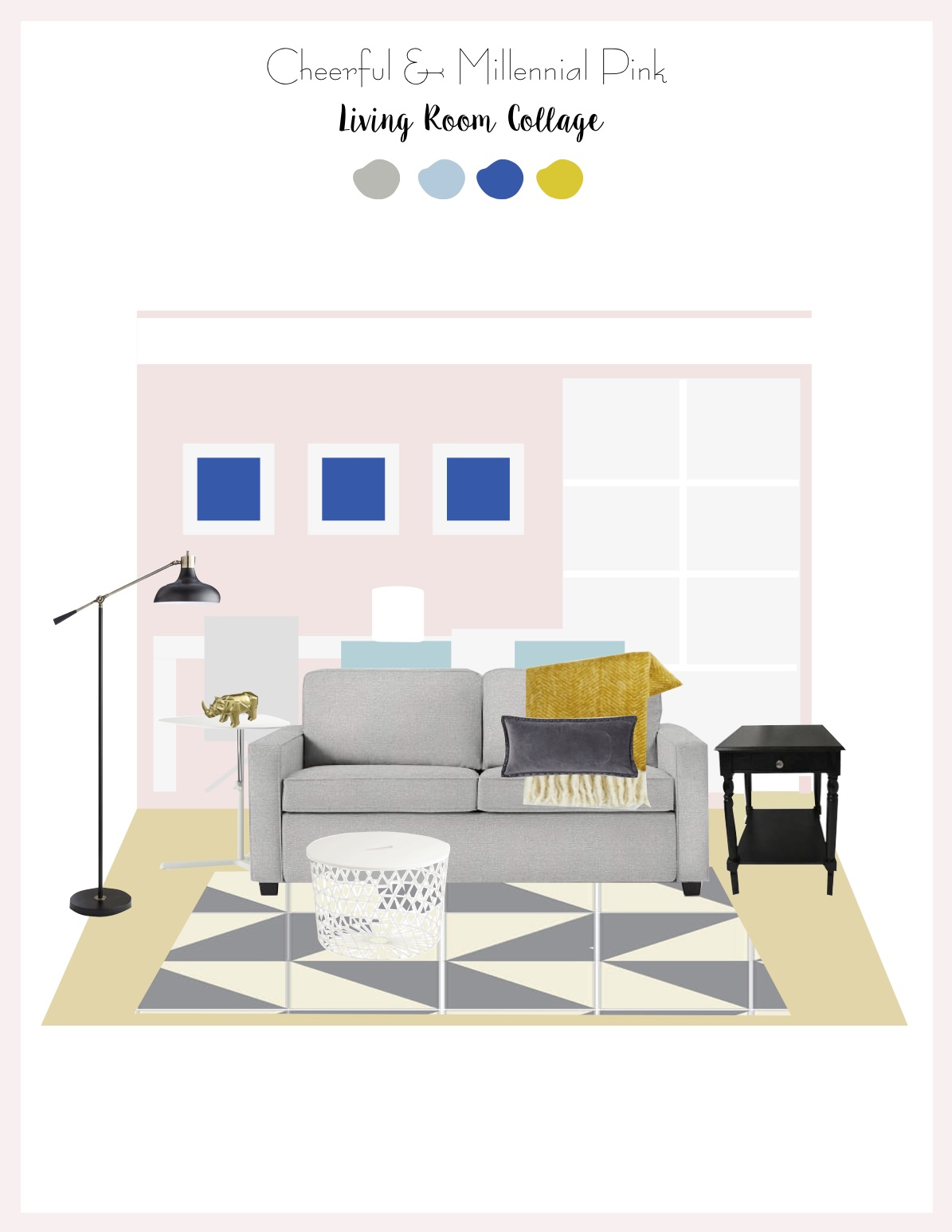 My Living Room Design: Cheerful & Millennial Pink