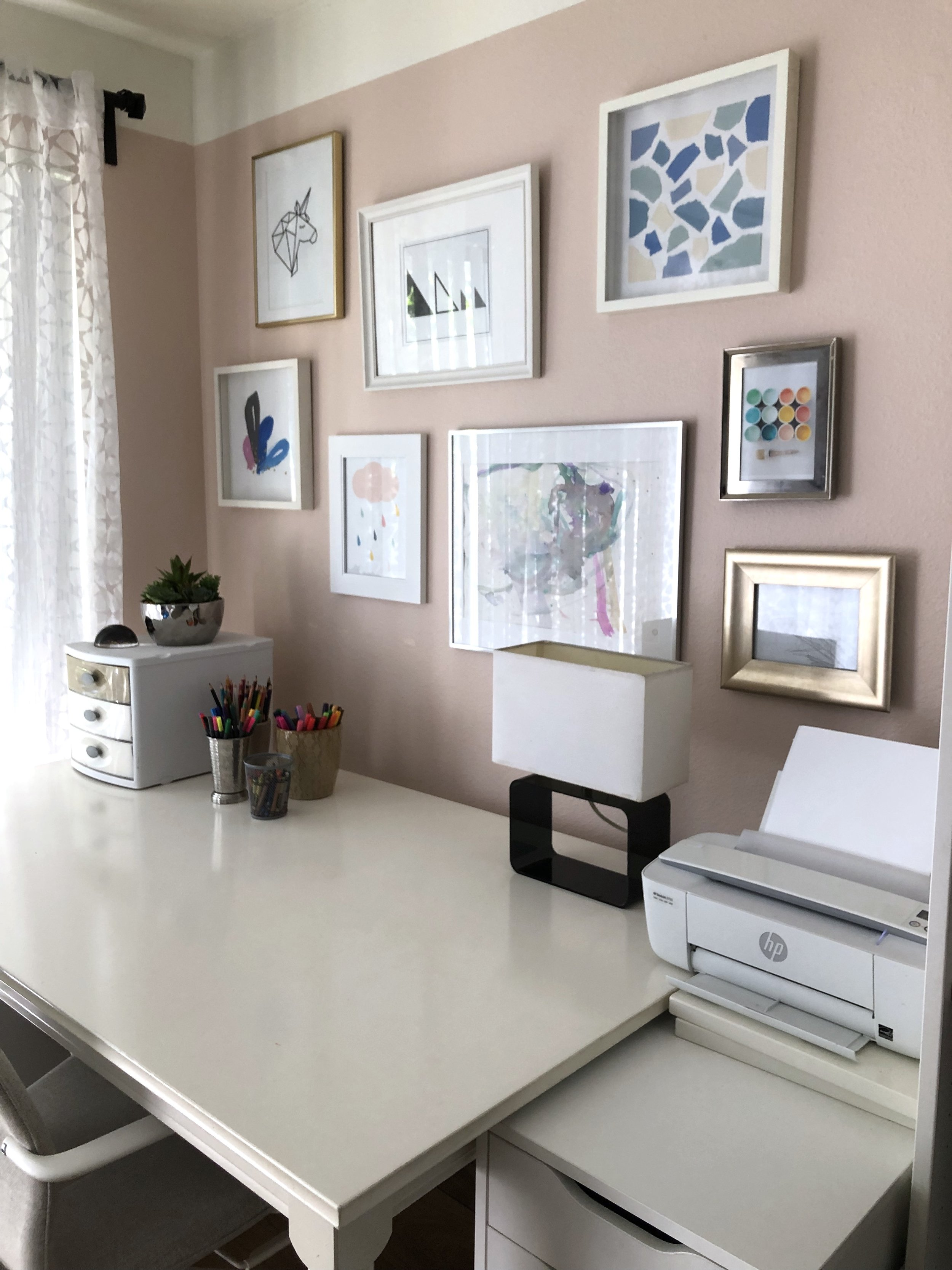 My toddler's large watercolor artwork was the inspiration for this entire collection. I purchased 2 pieces, my baby colored another, and I created the rest myself. The goal was to showcase a variety of mediums with a color story to unite them altogether.