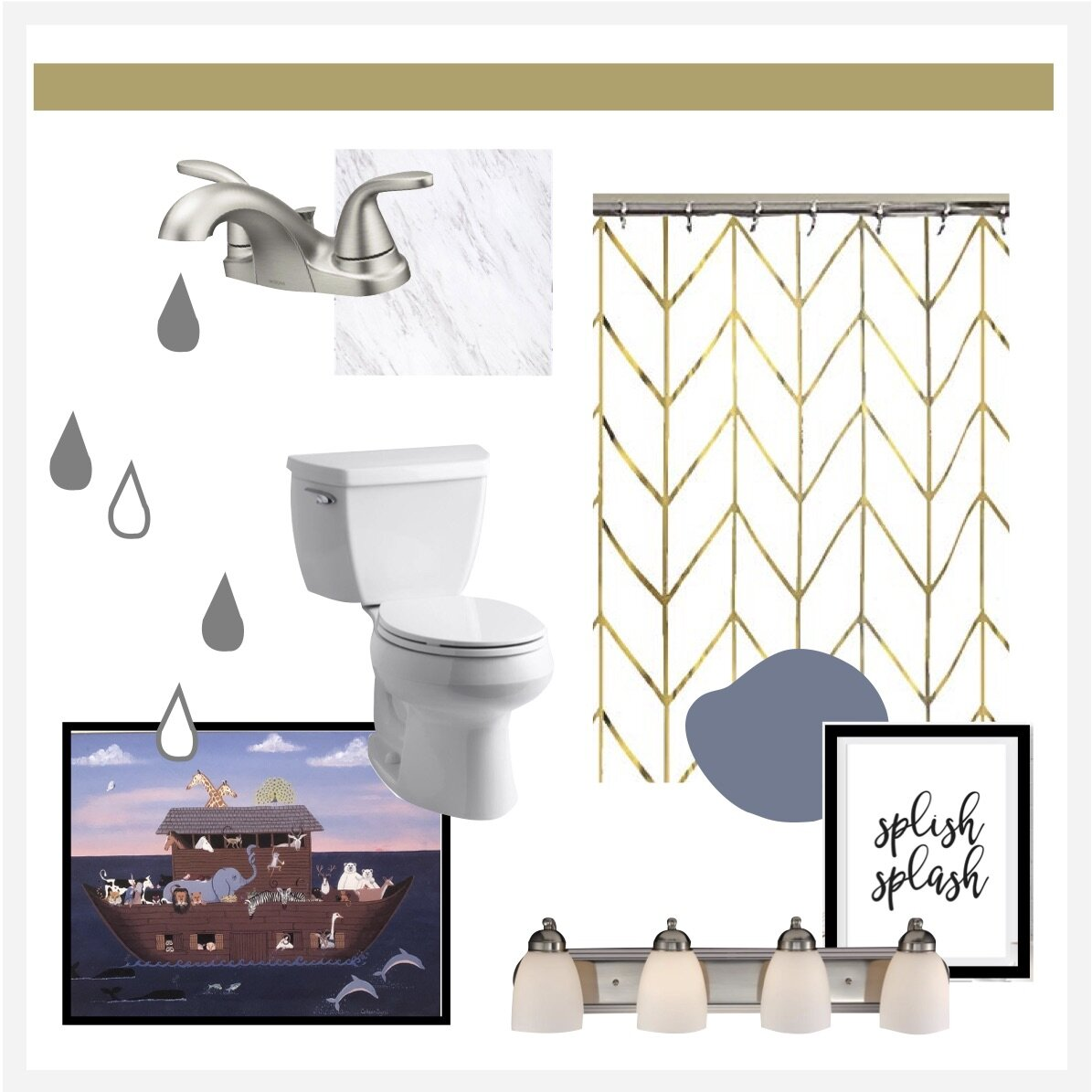 One Room Challenge, Wk 2: My Boys' Bathroom- Mood Board & Design Plans