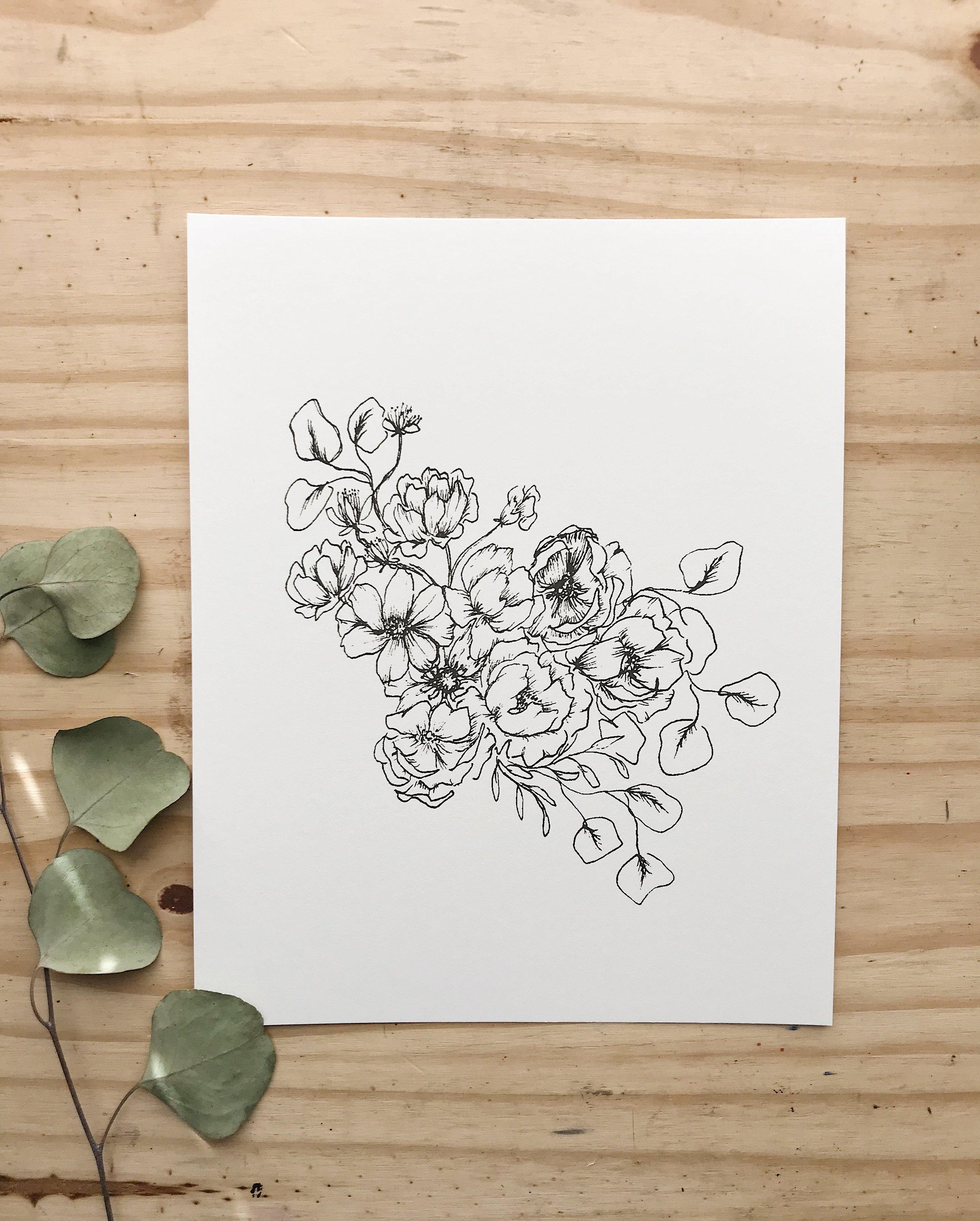 FloralIllustration001_AnIntroduction_astrantia_garden rose_eucalyptus_carnation_cosmos_anemone