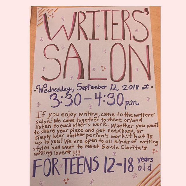 Head over to the writers' salon tomorrow at the Stevenson Ranch library from 3:30-4:30 p.m. Information in the flyer above!!
