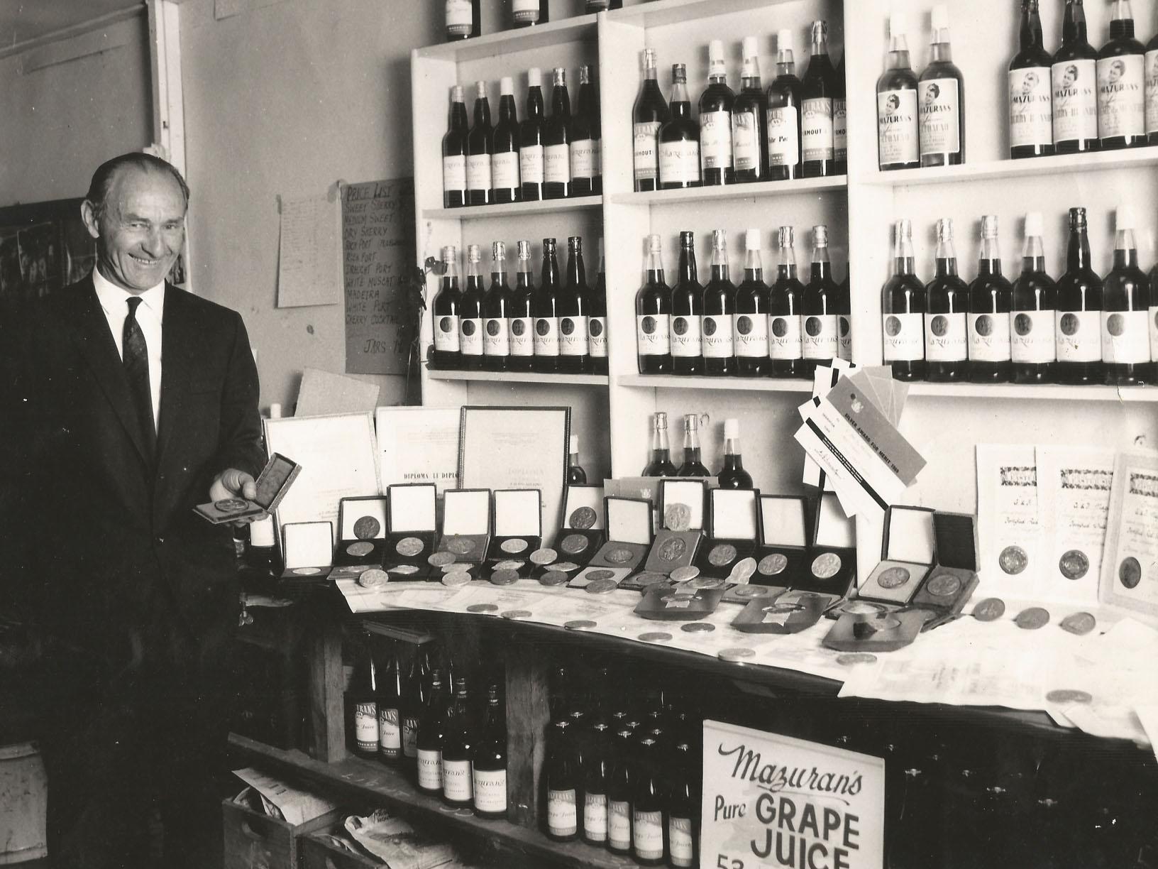 Pioneer winemaker George Mazuran OBE JP at the winery cellar