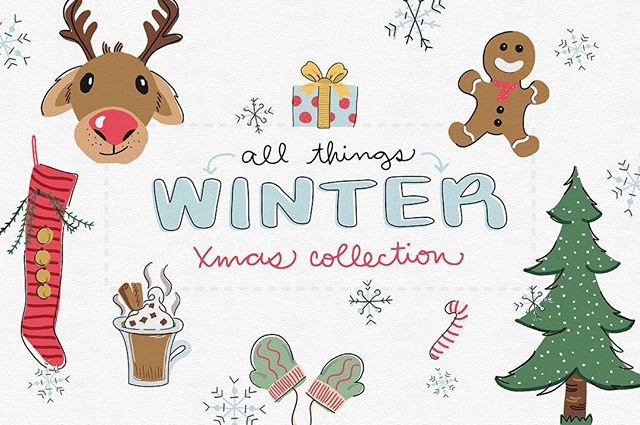 It's here! These hand drawn #xmas #vector graphics are fun and playful. Also the first graphics set for Leeloo Land! What do you think? #creativemarket #christmas #vectorgraphics #xmascards #hotcocoa #gingerbreadmancookies