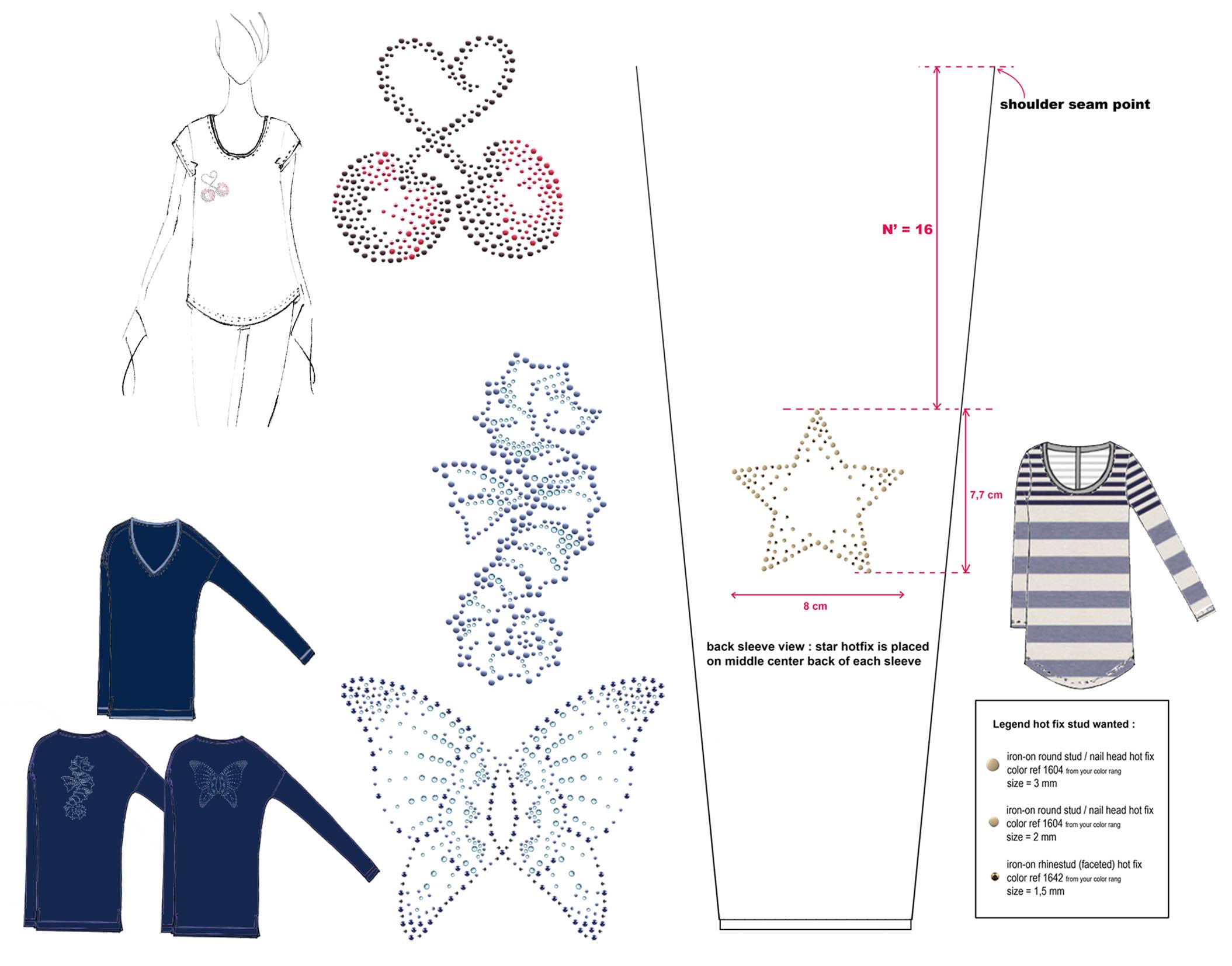 GERARD DAREL - summer 2013 - artwork creation & design placementtechnique: hot-fix appliqué
