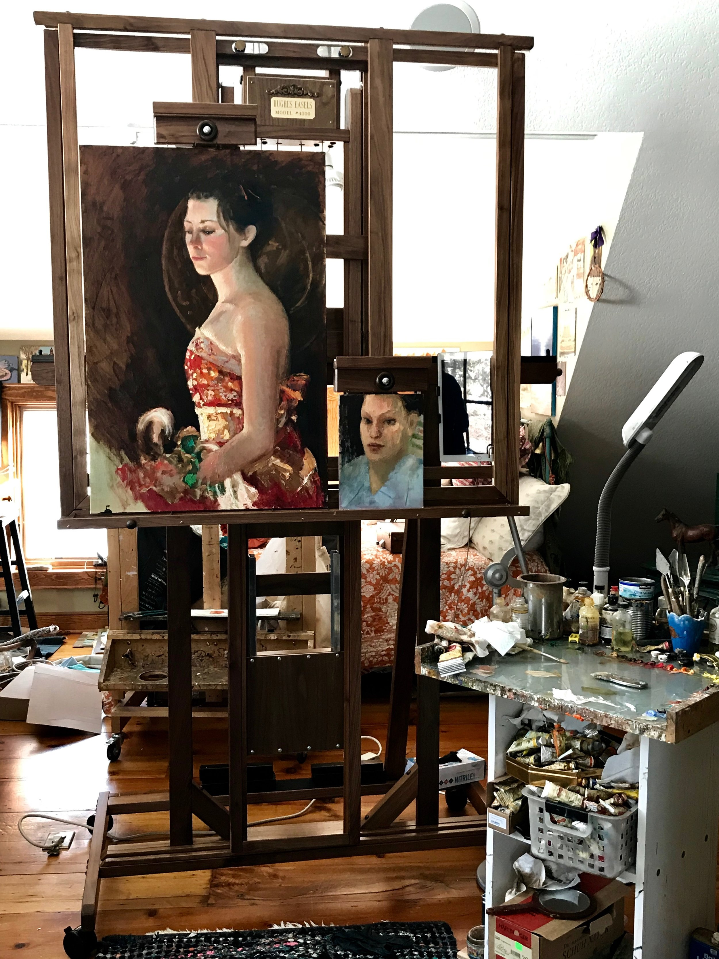 - My new Huges Easel in a messy studio!Next week is the job of cleaning and organizing the studio!