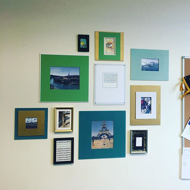 Another office wall that went from 'ho hum' to 'holy cow'!! What a different a sprinkle of photos, phrases, and color can make!! Imagine how much nicer it is to spend 40+ hours a week in this room... ✨✨ #walldecor #officerefresh #colorforthewin #gallerywall #beforeandafter #framewhatmatters