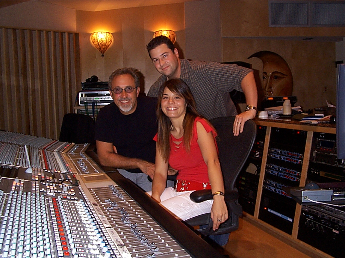 With Ainhoa and Emilio in Studio A, upstairs at Crescent Moon Studios, Miami.