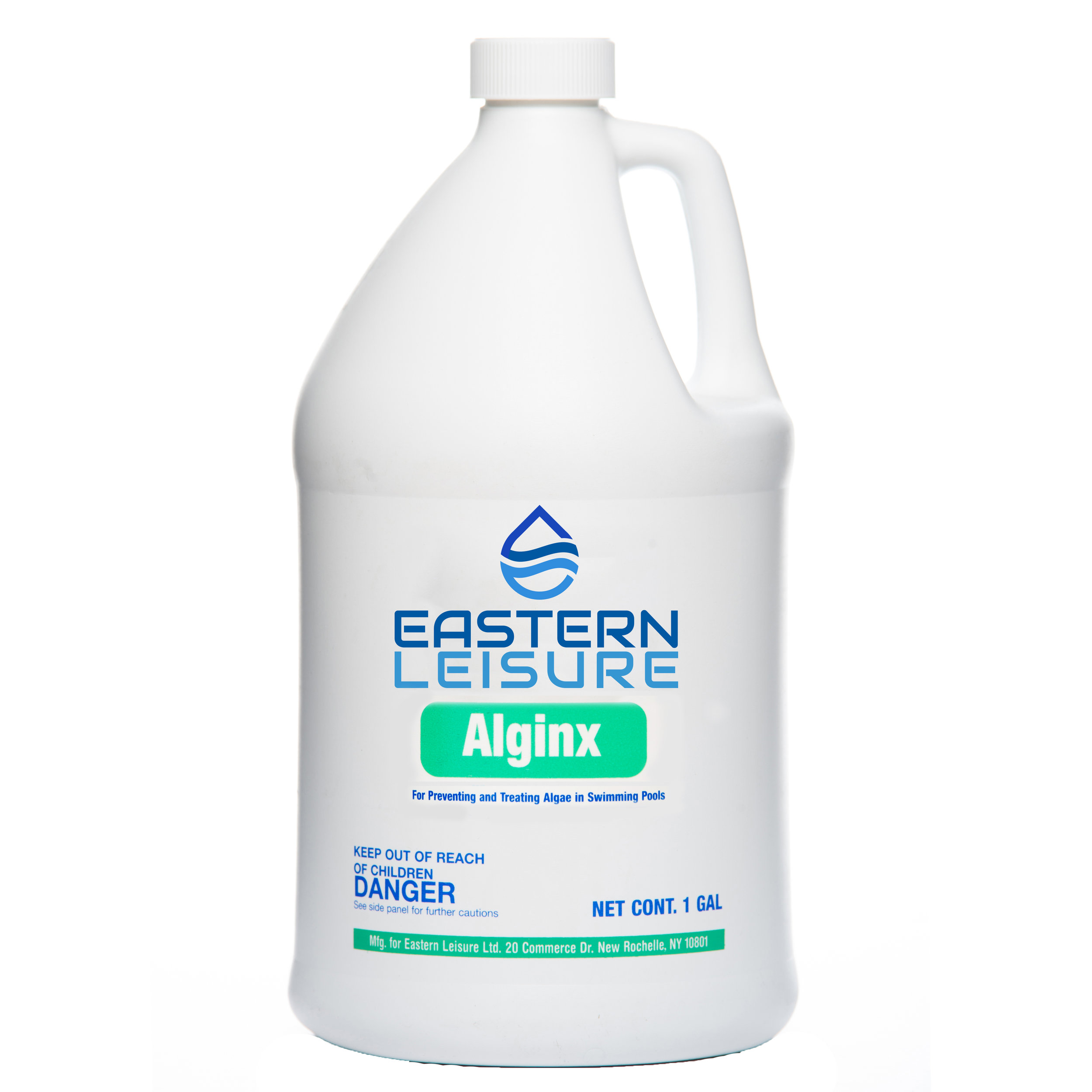 Alginx   EL101G - 1 gal. bottle, 4/case  An economical 10% Quat strength algaecide. Ideal for preventing algae growth in all pools.  Maintenance dosage: 1 gal. per  50,000 gal.