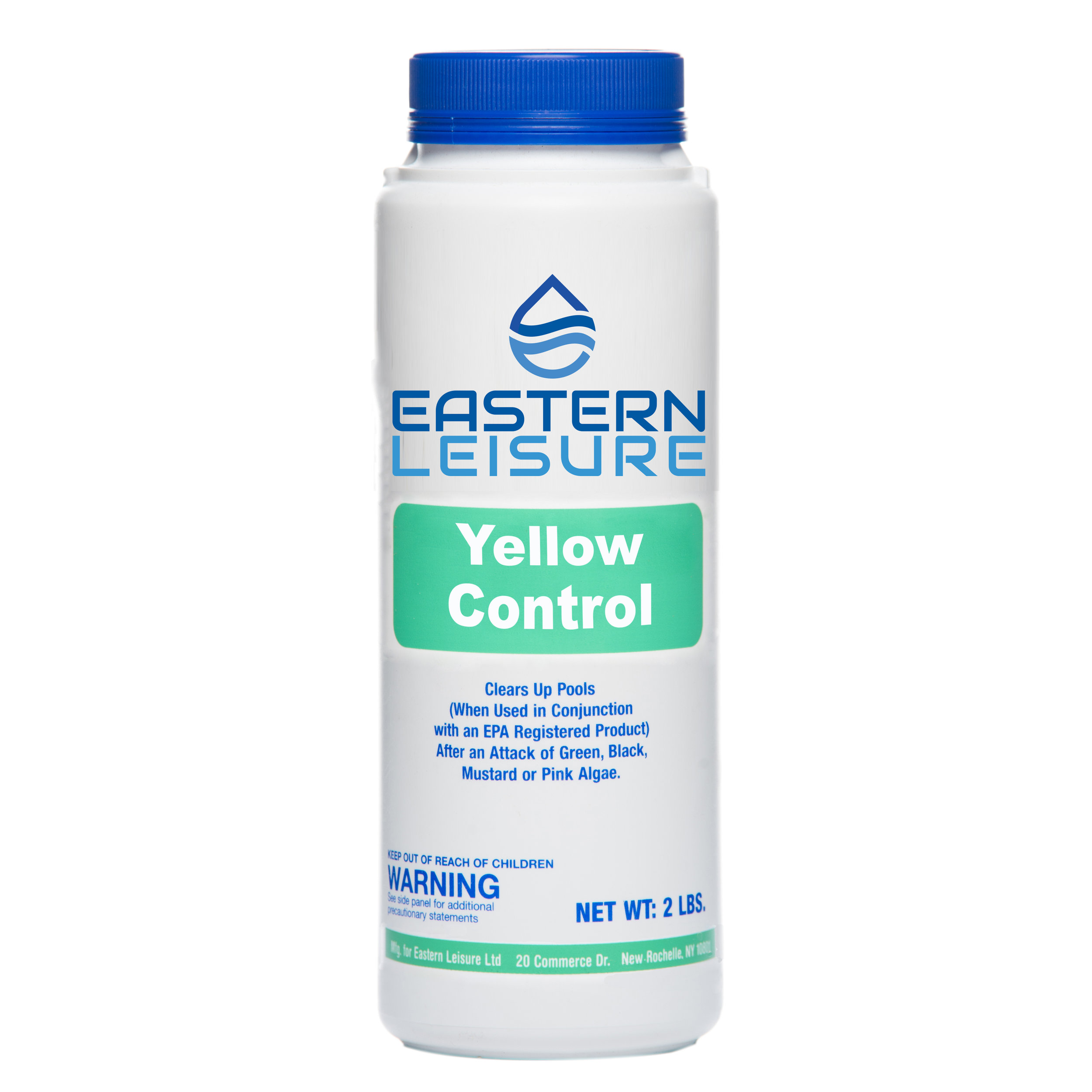 Yellow Control   ELP7A - 2 lb. container, 12/case  A non-metallic algaecide that clears pool water after an attack of green, black, mustard, or pink algae.  Use in combination with an EPA-registered chlorinating product.  Maintenance dosage: 4-8 oz per  10,000 gal.