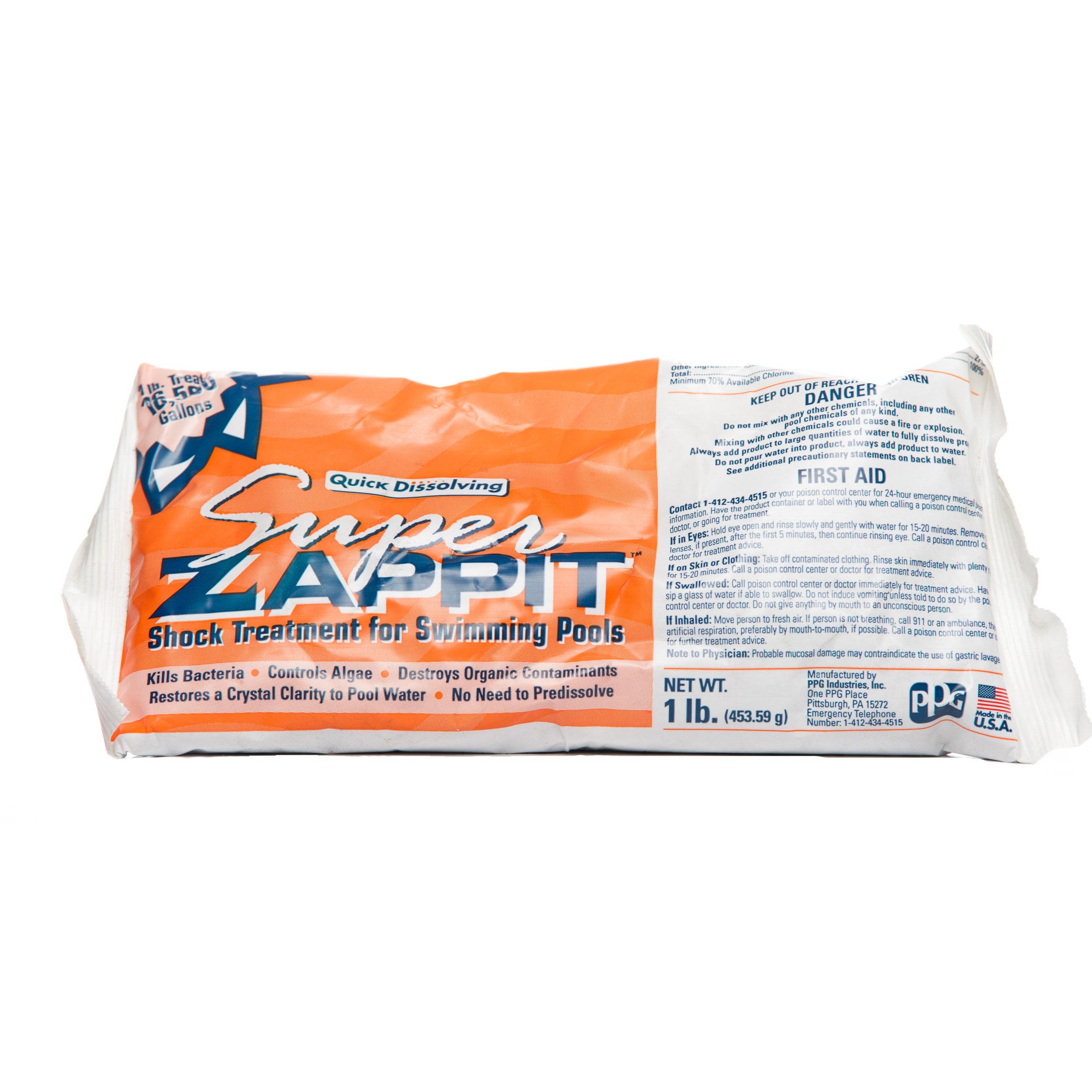 Super Zappit   EL28124 - 1 lb. bag 24/case  A fast dissolving 73% calcium Hypolchlorite basedshock.  Dosage: 1 bag per 11,500 gal.