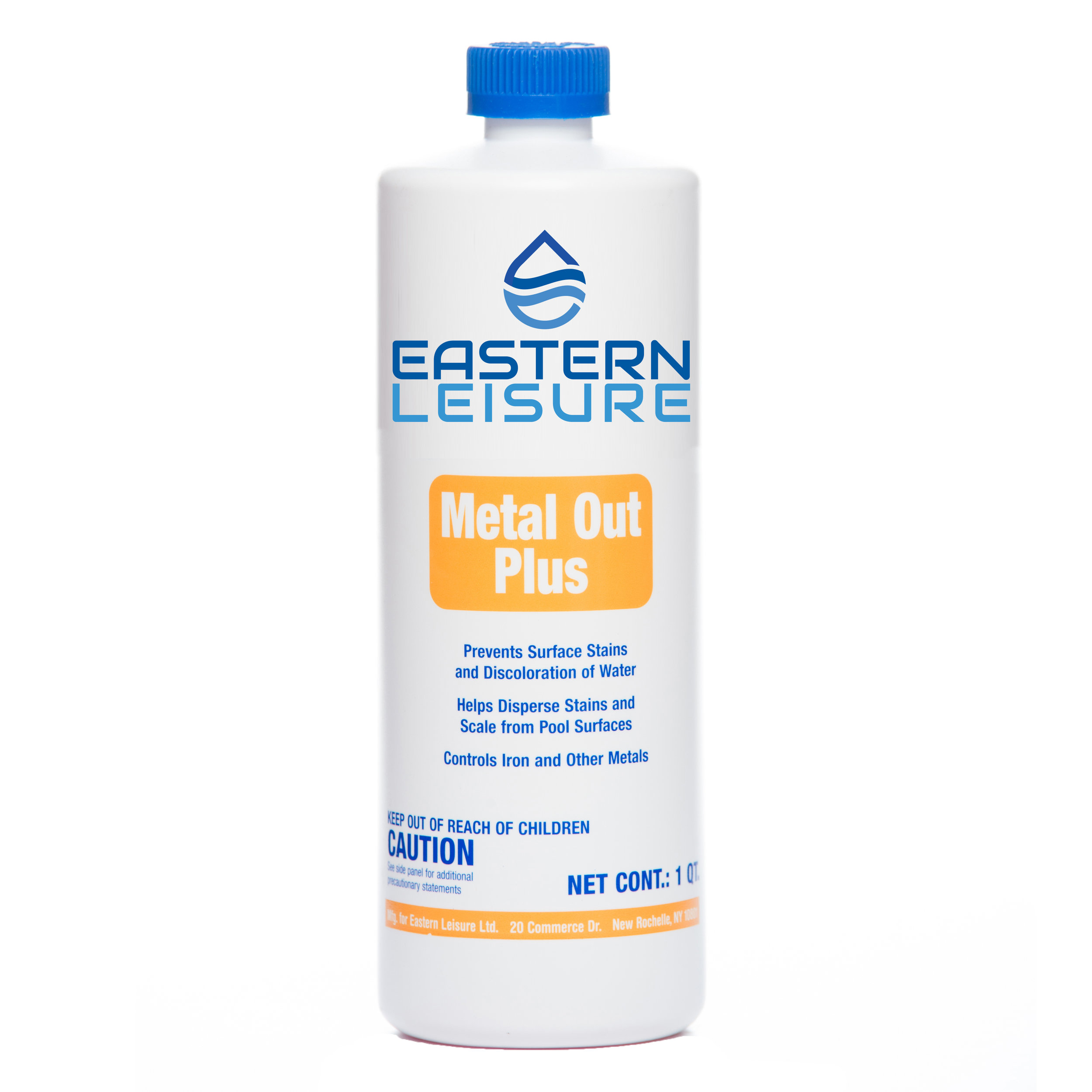 Metal Out Plus   ELP18C - 8 oz. bottle, 12/case ELP18A - 1 qt. bottle, 12/case  Removes iron, copper and other metals from pool water. Helps control and prevent staining and water discoloration.  Initial dosage: 15 oz. per 10,000 gal. Maintenance dosage: 5 oz. per 10,000 gal.