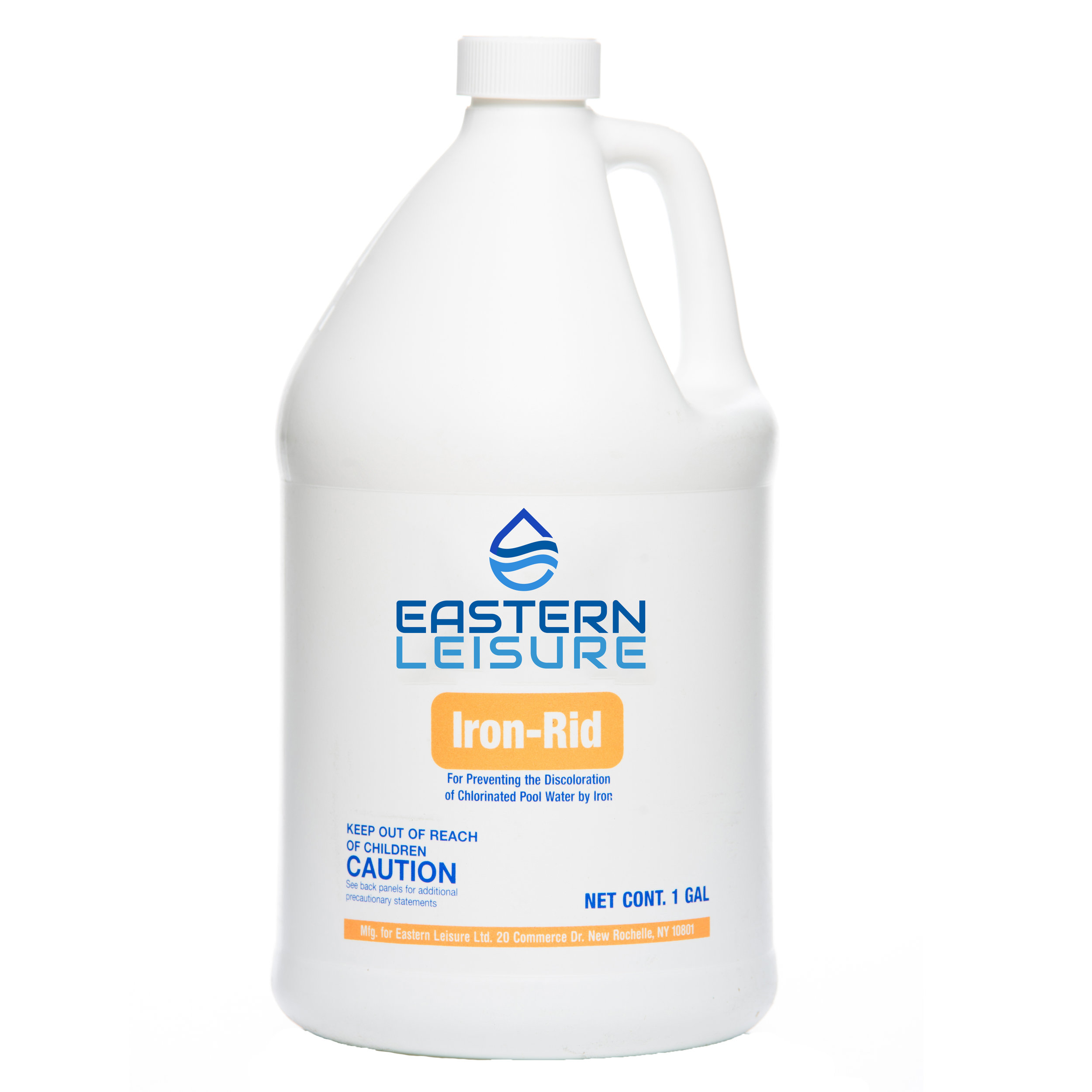 Iron Rid   EL109G - 1 gal. bottle, 4/case  Removes iron from pool water and prevents discoloration.  Dosage: 1 gal. treats 30,000 gal.