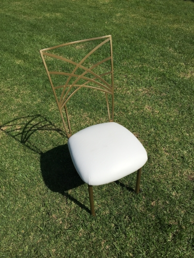 "Gold Fan Fare Chair with White Cushions  Dimensions: 19"" wide x 17"" deep x 36"" tall"