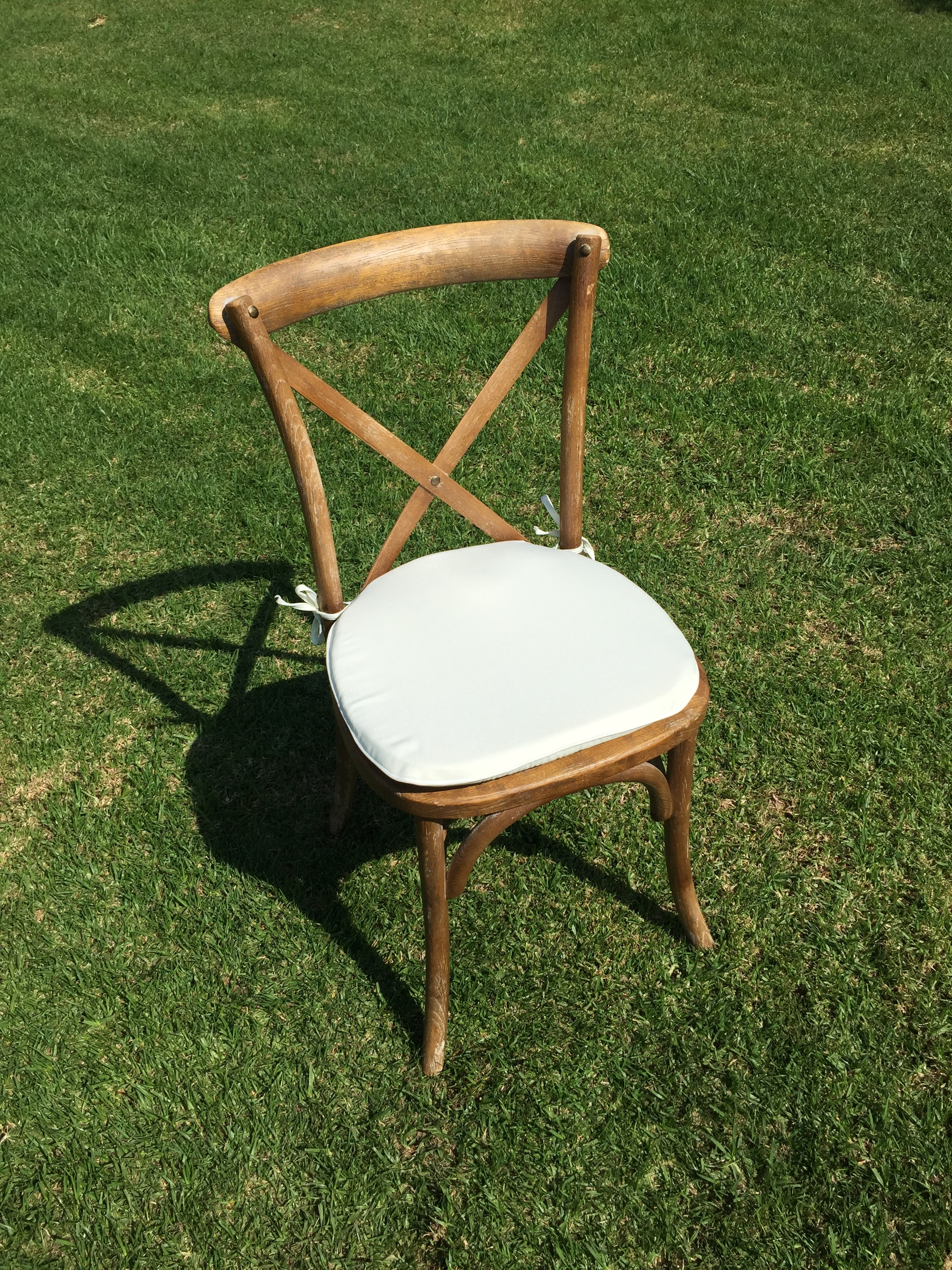 """Vineyard Cross Back Chair with Ivory Cushion  Dimensions: 19"""" wide x 17"""" deep x 30"""" tall"""