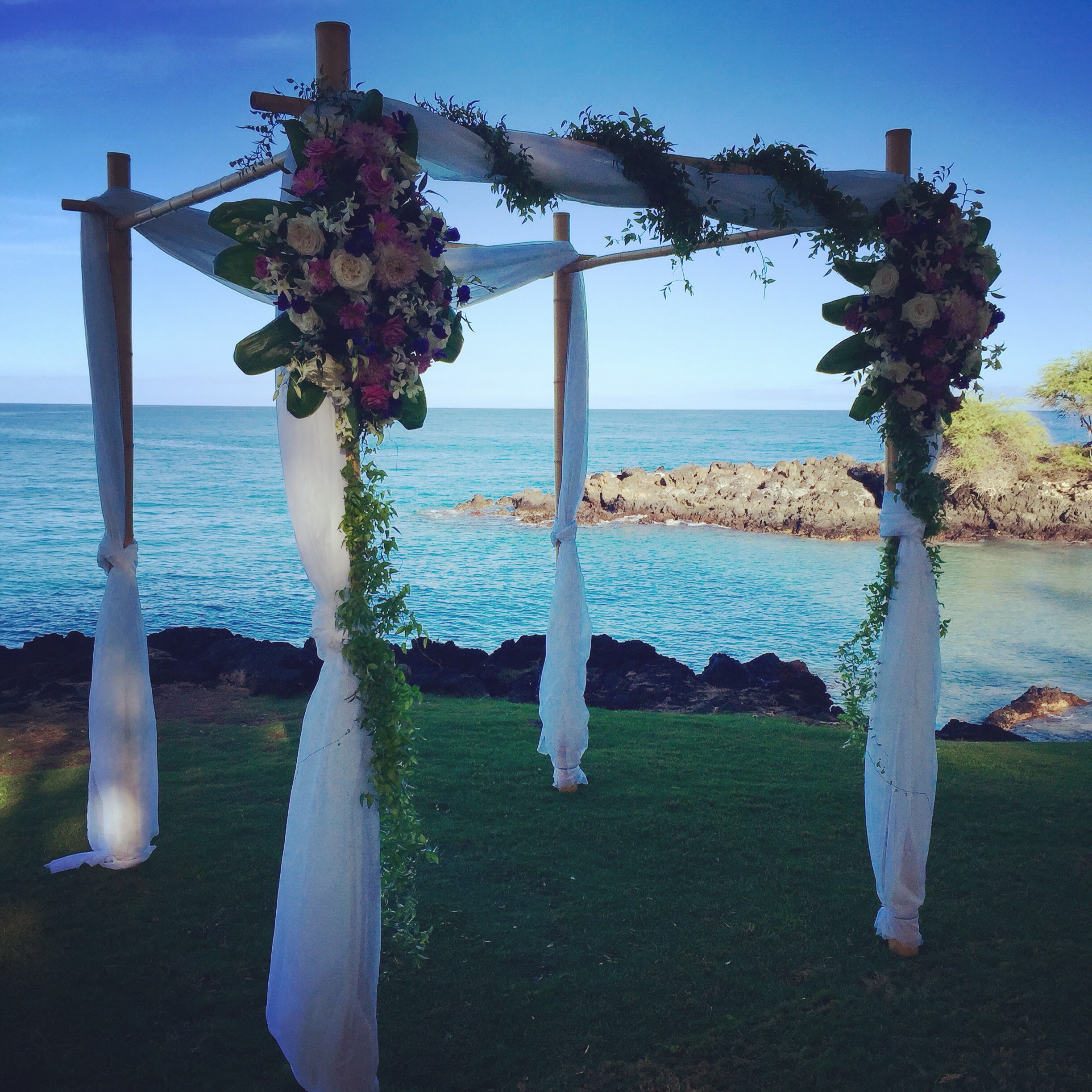 Bamboo Wedding Structure with simple fabric for ceremony at  Hapuna Beach Hotels  Turtle Point lawn.  Florals by  Ainahua Florals .