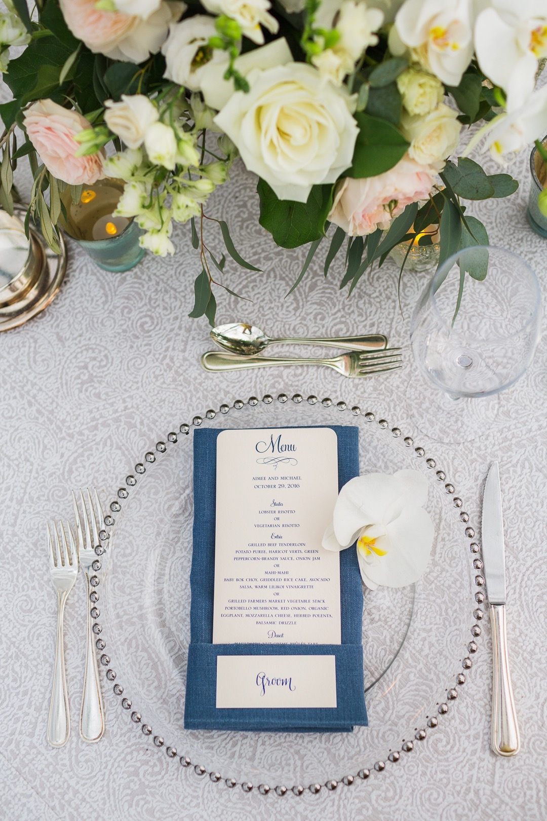 Silver Beaded Glass Chargers. Photo:  Sea Light Studios |Decor  Bliss In Bloom