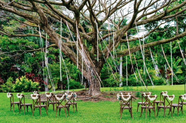 Vineyard Crossback Chairs for a dreamy ceremony by  Jots of Thoughts . Photography  bikinibirdie | Florals  graceflowershawaii