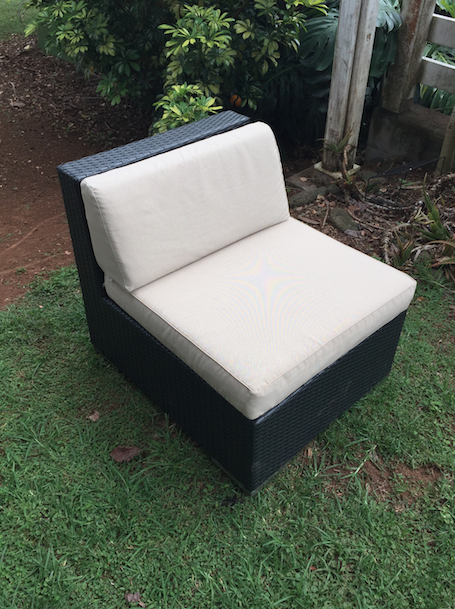 Black Wicker with Creme Cushions Mid Piece