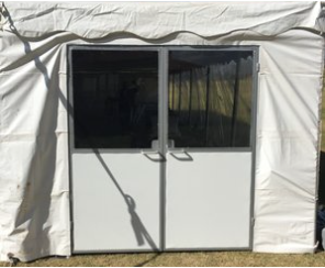 Tent Doors come in a set of two and open out.