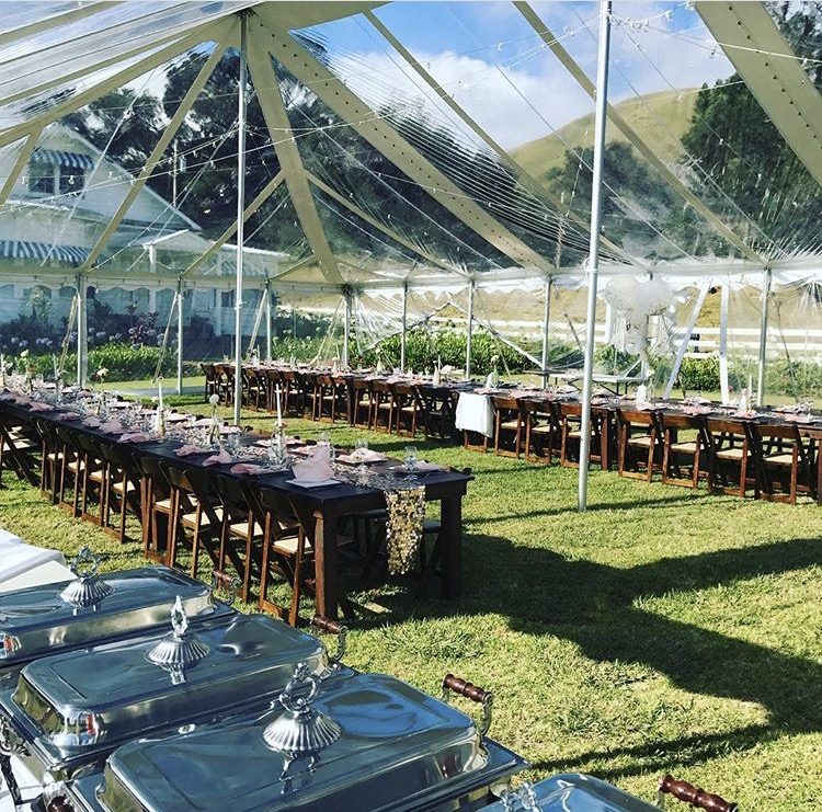 Clear tent with Clear Side Walls for an event at  Anna's Ranch .