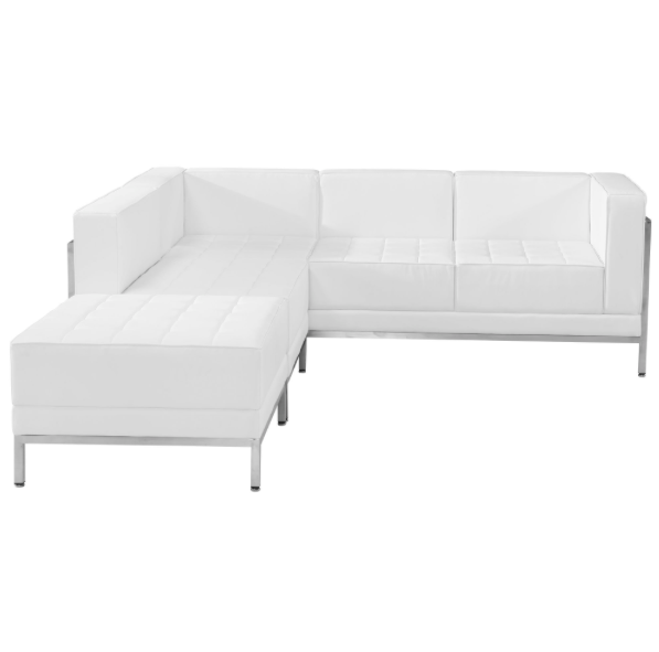 (3) Piece White Leather Sectional