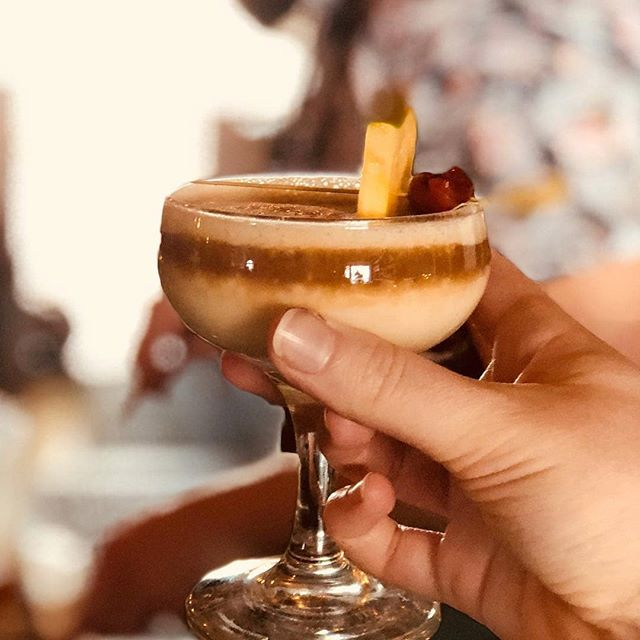 Gimme. [#Repost ~ @dinechartier]  Our Sunday Spirit Club welcome cocktail:  Tan Lines  @appletonestatecan ,banana liqueur, mango, cinnamon, lime, @revolution_yeg tonka ice cream, topped with Porter.  A rum tasting this evening to escape this polar vortex 🤷🏻‍♂️🍹🍍☀️🌴 #sundayspiritclub #tiki #rum #yegfood #sundayfunday #beaumont #dinechartier  #revolutionyeg #appletonrum